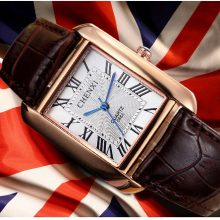 Men's Elegant Rectangular Case Wristwatches