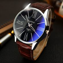 Elegant Leather Band Men's Watches