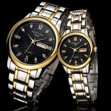 Couple Stainless Steel Wristwatches